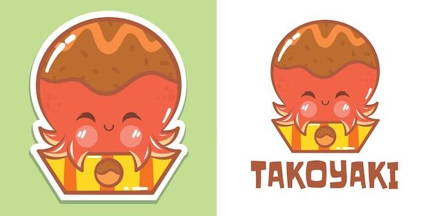 Słodkie logo ośmiornicy takoyaki i ilustracja maskotki