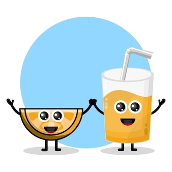 Słodkie logo postaci ze szkła soku pomarańczowego