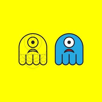 Słodkie logo potwora ze złotym współczynnikiem