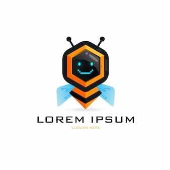 Słodkie logo pszczoły robota