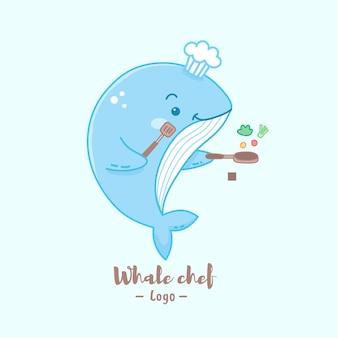 Słodkie logo szefa kuchni wielorybów kreskówka gotowanie w pastelowych kolorach.