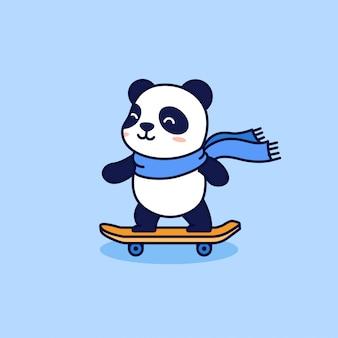Słodkie łyżwiarze panda