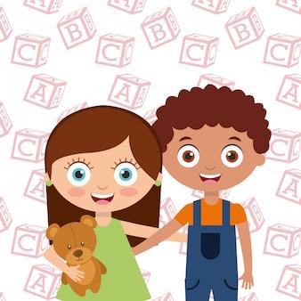 Słodkie małe dzieci chłopiec i dziewczynka ogarnąć przyjaciół z alfabetu blokuje tło
