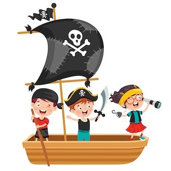 Słodkie małe dzieci piratów pozowanie