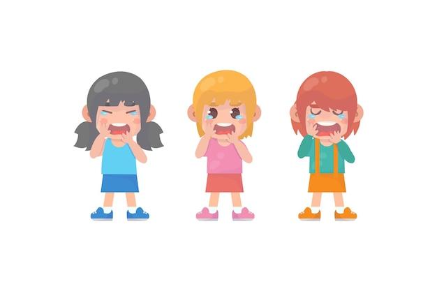 Słodkie małe dzieci z płaczem i wybuchem złości wektor premium