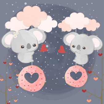 Słodkie małe koale i różowe desery