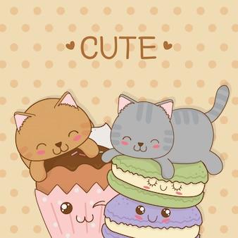 Słodkie małe koty ze słodkimi pączkami kawaii znaków