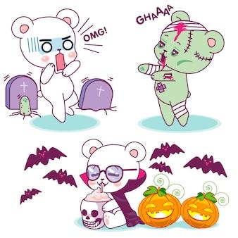 Słodkie małe niedźwiedzie halloweenowe horrory