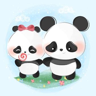 Słodkie małe pandy