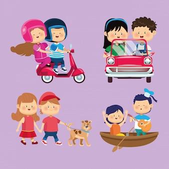 Słodkie małe pary dzieci grupują postacie