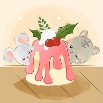 Słodkie małe zwierzęta i pyszne ciasto
