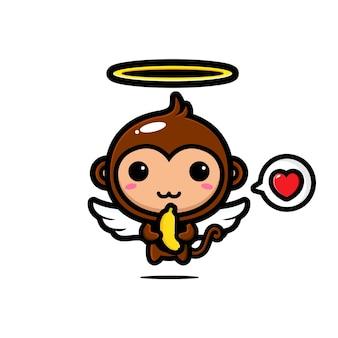 Słodkie małpy amorek uwielbiają banany