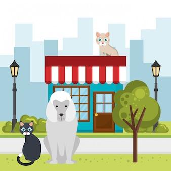 Słodkie maskotki i ikony sklepu zoologicznego
