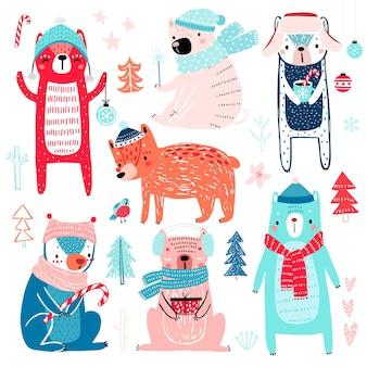 Słodkie misie w zimowych ubraniach dziecinne postacie motyw świąteczny
