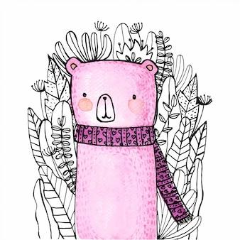 Słodkie niedźwiedź kreskówka akwarela ręcznie malowane