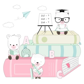 Słodkie niedźwiedź kreskówka i ilustracja książki