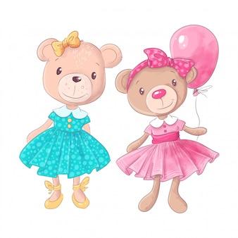 Słodkie niedźwiedź kreskówka ręcznie rysowane ilustracji wektorowych