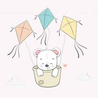 Słodkie niedźwiedź na niebie przez ręcznie rysowane kreskówki latawce