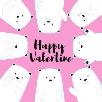 Słodkie niedźwiedzie valentine tło
