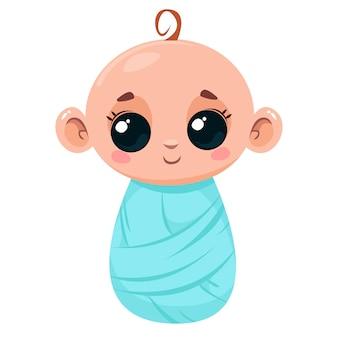 Słodkie noworodka w niebieskim kocu ilustracja wektorowa w stylu kreskówki dla dzieci izolowana zabawa