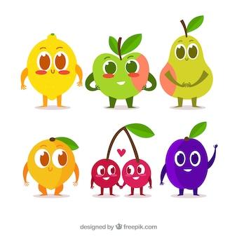 Słodkie opakowanie znaków owocowych