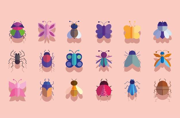 Słodkie owady zwierzęta mała fauna w ilustracja kreskówka ikony