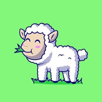 Słodkie owce jedzenie trawy postać z kreskówki. zwierzęca owca na białym tle.