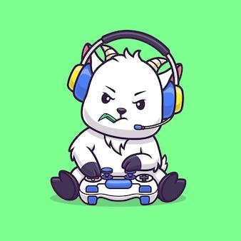 Słodkie owce koza gra kreskówka wektor ikona ilustracja. koncepcja ikona technologii zwierząt na białym tle premium wektor. płaski styl kreskówki