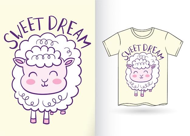 Słodkie owce ręcznie rysowane na t shirt