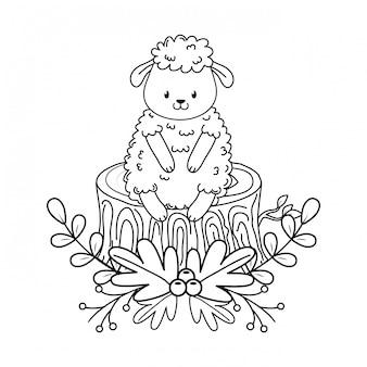 Słodkie owce w leśnym charakterze pnia