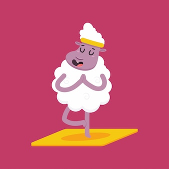 Słodkie owce w pozie jogi. śmieszny wektorowy kreskówka baranka charakter odizolowywający