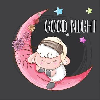 Słodkie owce zwierzę śpiące na księżycu