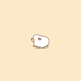 Słodkie owiec ikona kreskówka spaceru