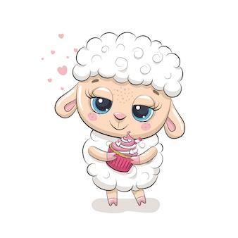 Słodkie owieczki z babeczką. ilustracja na chrzciny, kartkę z życzeniami, zaproszenie na przyjęcie, nadruk koszulki z modnymi ubraniami.