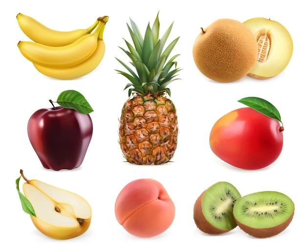 Słodkie owoce. banan, ananas, jabłko, melon, mango, kiwi, brzoskwinia, gruszka.