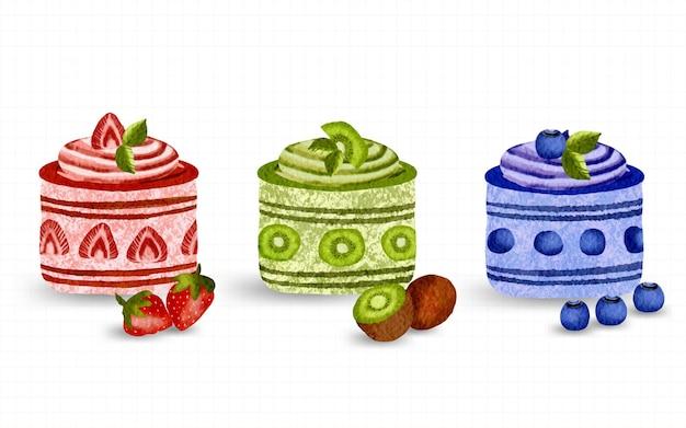 Słodkie owoce deser ciasto akwarela ręcznie malowana kolekcja ilustracja