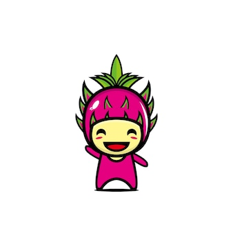 Słodkie owoce smoka postać z kreskówki postać z kreskówki ilustracja projekt prosty płaski styl