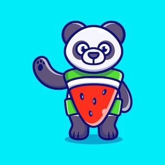 Słodkie panda nosić kostium arbuza