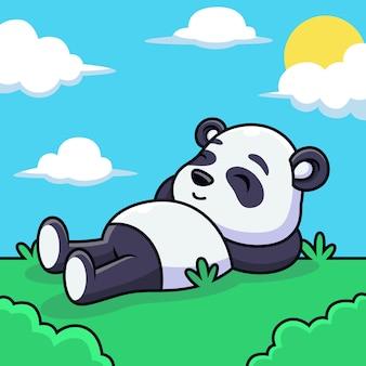 Słodkie panda relaks kreskówka. ilustracja ikony zwierząt, na białym tle