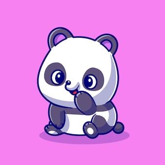 Słodkie panda uśmiechający się ikona ilustracja kreskówka wektor. zwierzęca natura ikona koncepcja białym tle premium wektor. płaski styl kreskówki