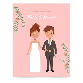 Słodkie panny młodej i pana młodego na zaproszenia ślubne karty. romantyczna para ręcznie rysowane charakter.