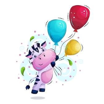 Słodkie paski zebry leci z balonów.
