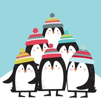 Słodkie pingwiny ilustracje wektorowe kreskówka