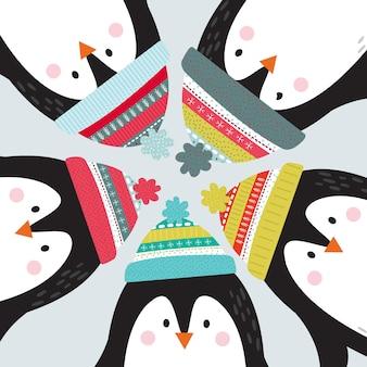 Słodkie pingwiny projektowania ilustracji wektorowych