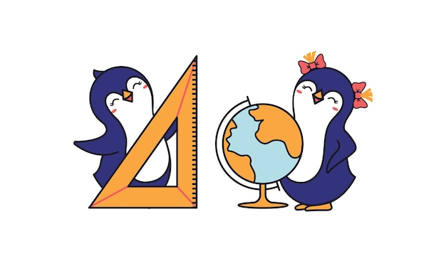 Słodkie pingwiny szkoła chłopiec i dziewczynka. śmieszne postacie zwierząt