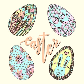 Słodkie pisanki. doodle ręcznie rysowane zestaw. szczęśliwa wakacyjna dekoracja dla kartka z pozdrowieniami. jajo zentangle.