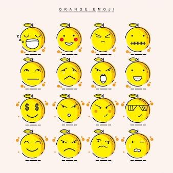 Słodkie pomarańcze emoji