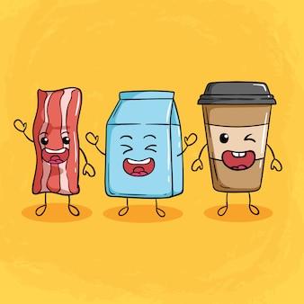 Słodkie poranne śniadanie z papierowym kubkiem z boczkiem, mlekiem i kawą
