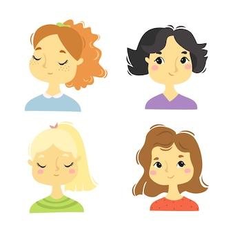 Słodkie portrety dziewcząt