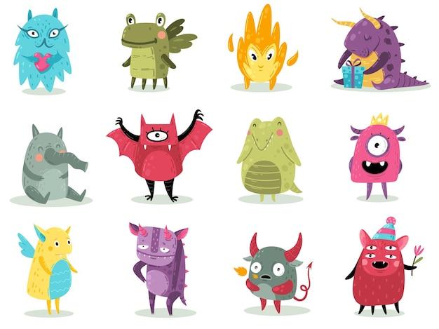 Słodkie potwory. śmieszne bajeczne niesamowite stworzenia z uśmiechami i głupkowatymi twarzami, obcy kreskówka, smoki gremlins i diabelskie upiorne stworzenia halloweenowe postacie do druku, zestaw naklejek